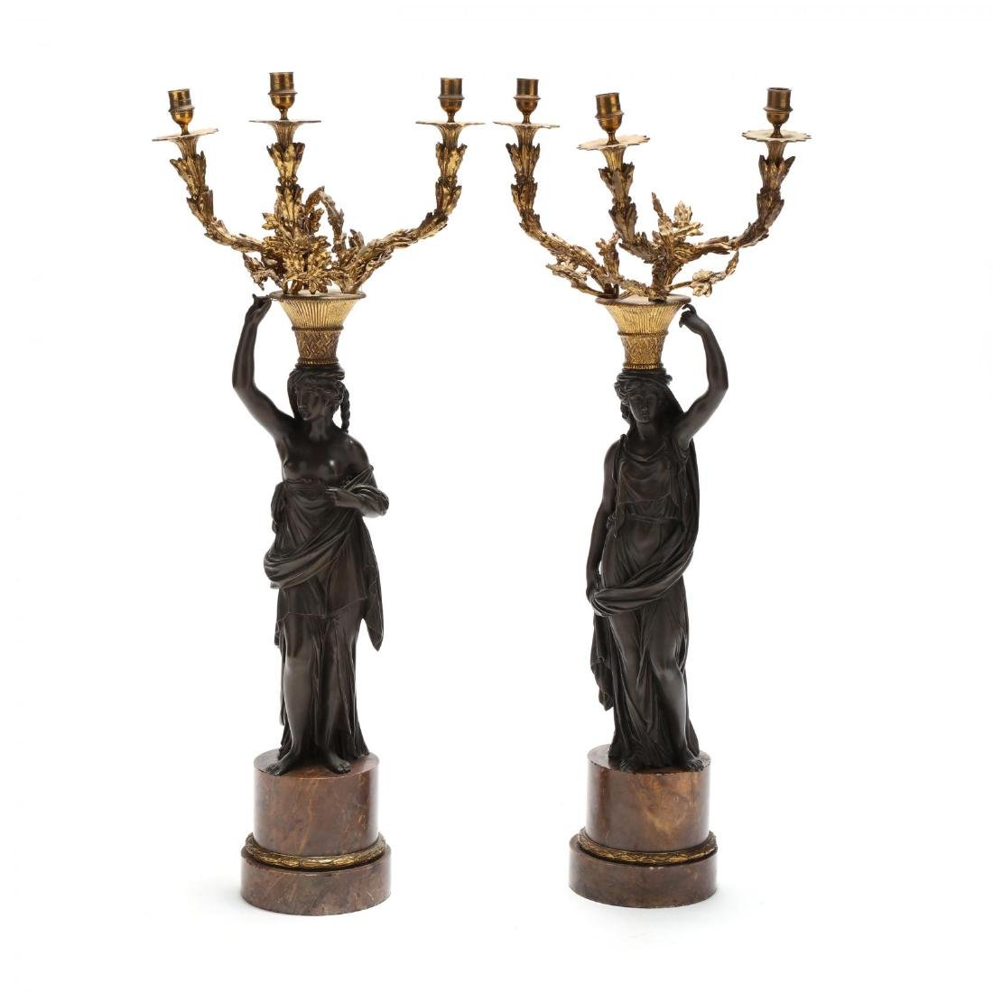 A Pair of Neoclassical Style Figural Candelabra
