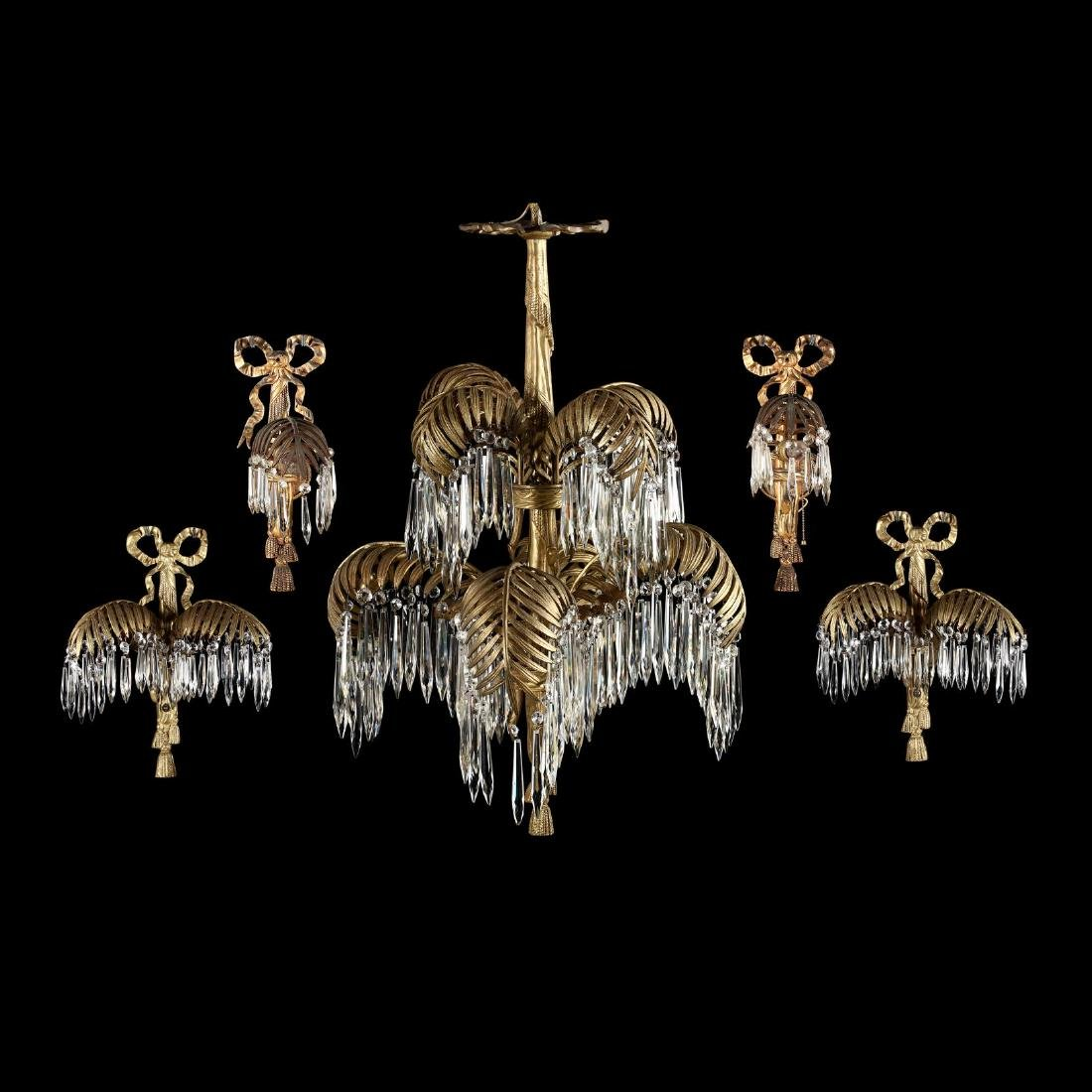 Italian Classical Style Gilt Palm Chandelier and