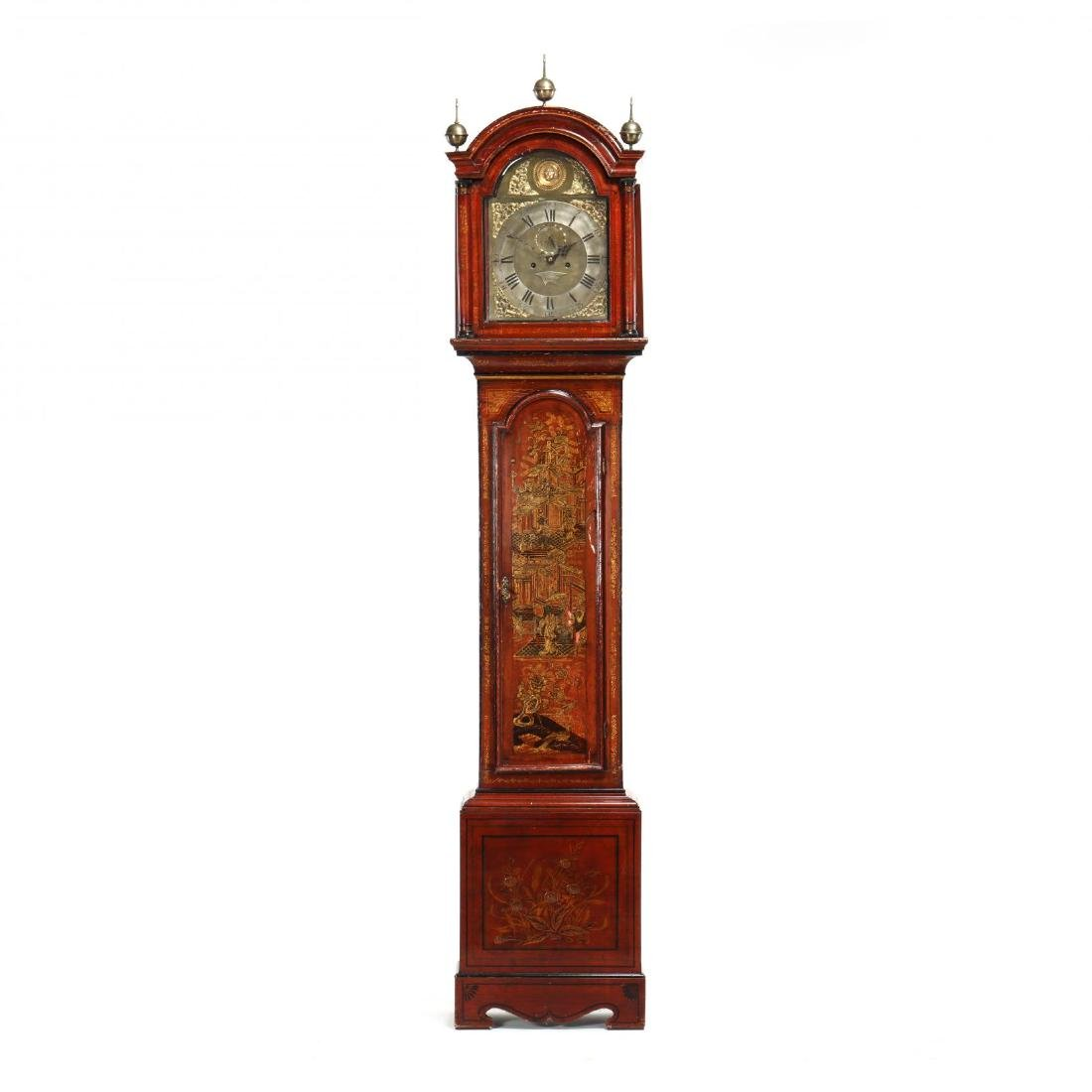 English Chinoiserie Tall Case Clock, James Smyth,