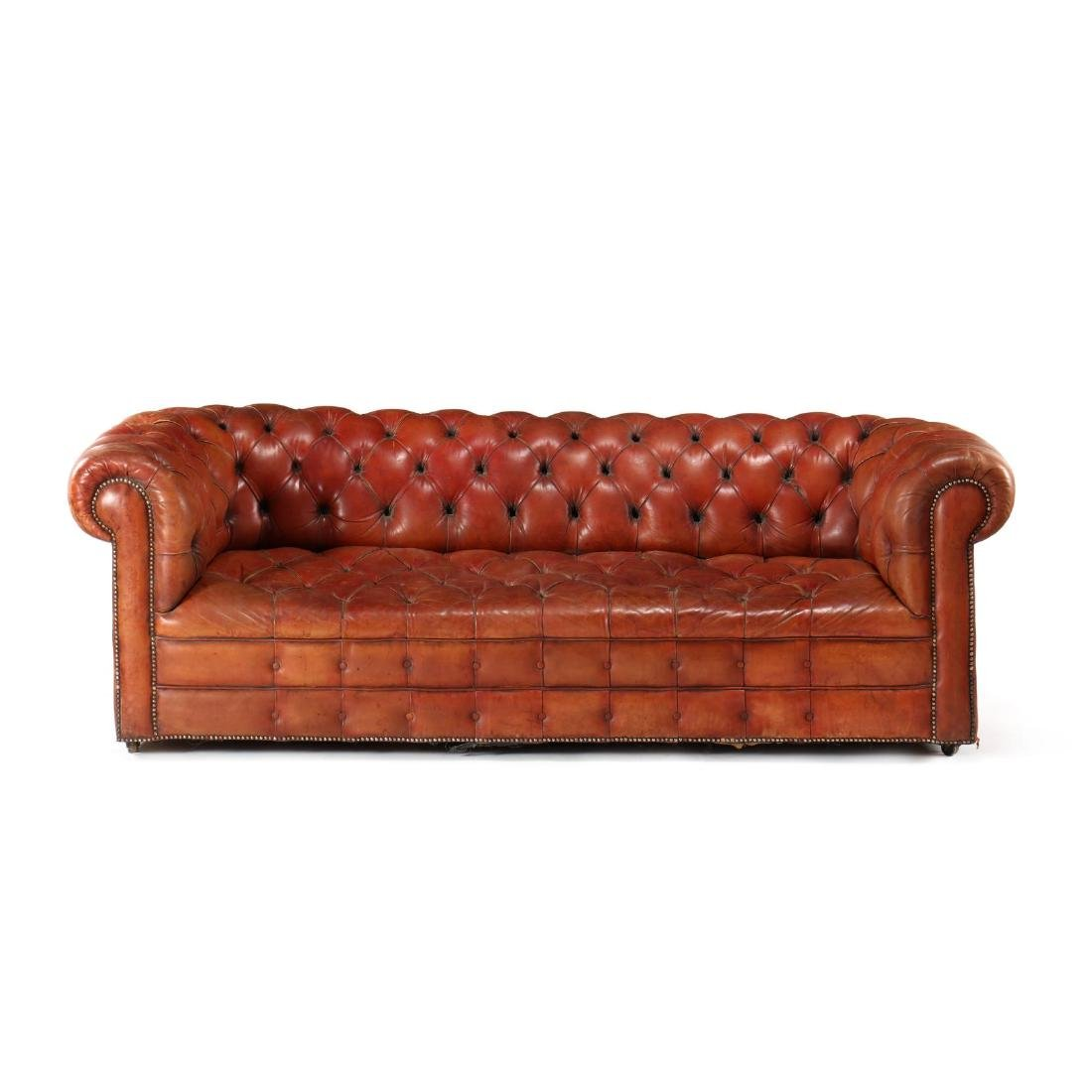 English Art Deco Leather Upholstered Chesterfield Sofa