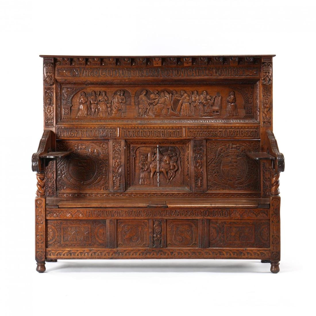 English Renaissance Revival Carved Oak Settle