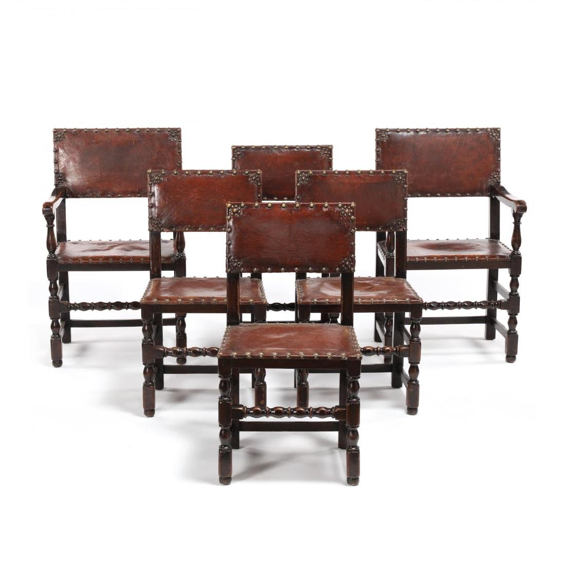 Set of Six Jacobean Revival Oak Dining Chairs