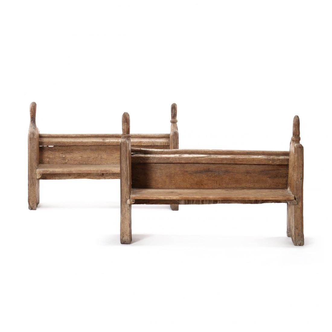 Two Continental 18th Century Pew Benches