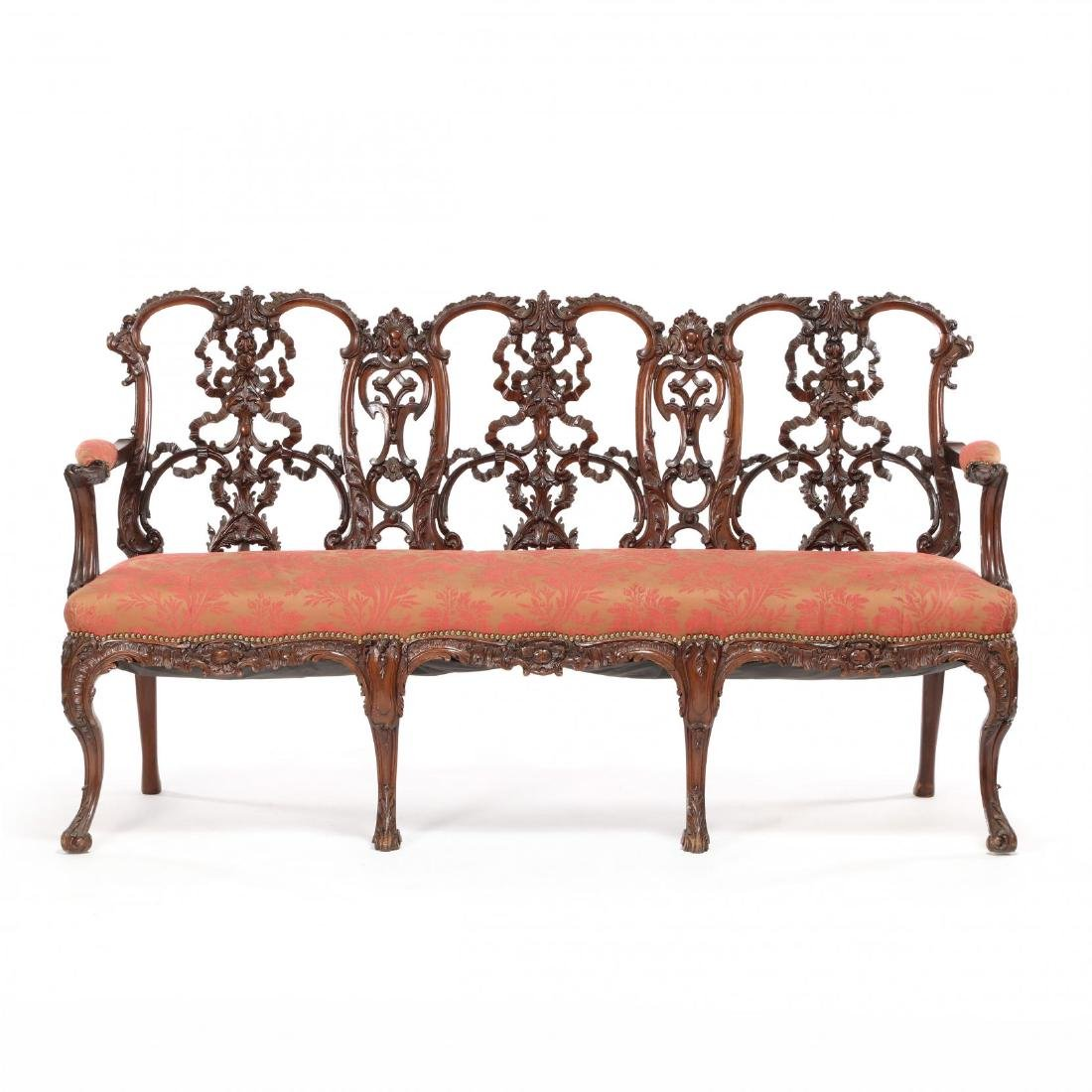 English or Irish Chippendale Style Antique Triple Back