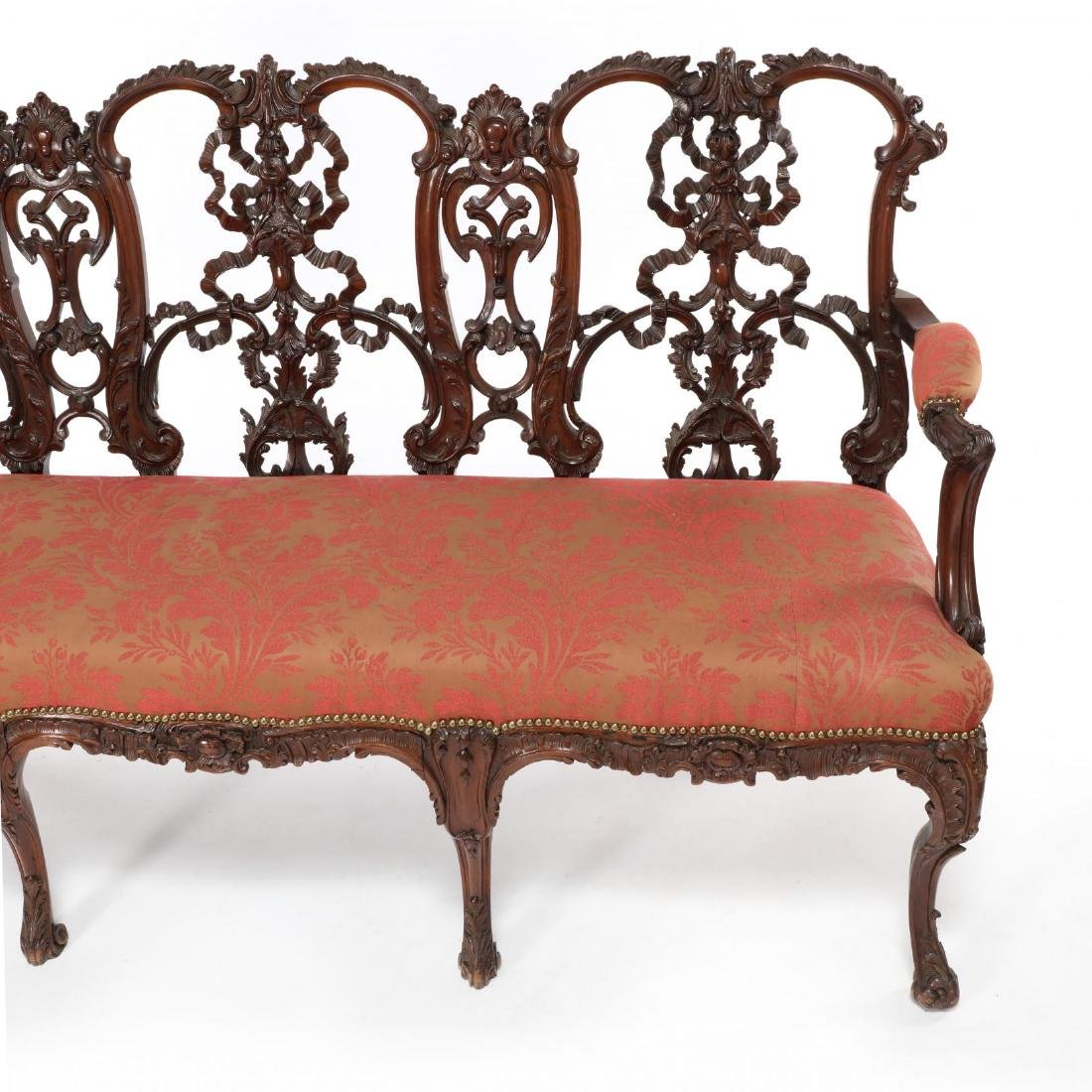 English or Irish Chippendale Style Antique Triple Back - 2
