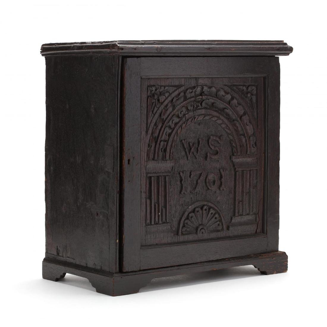 English Carved Oak Spice Cabinet