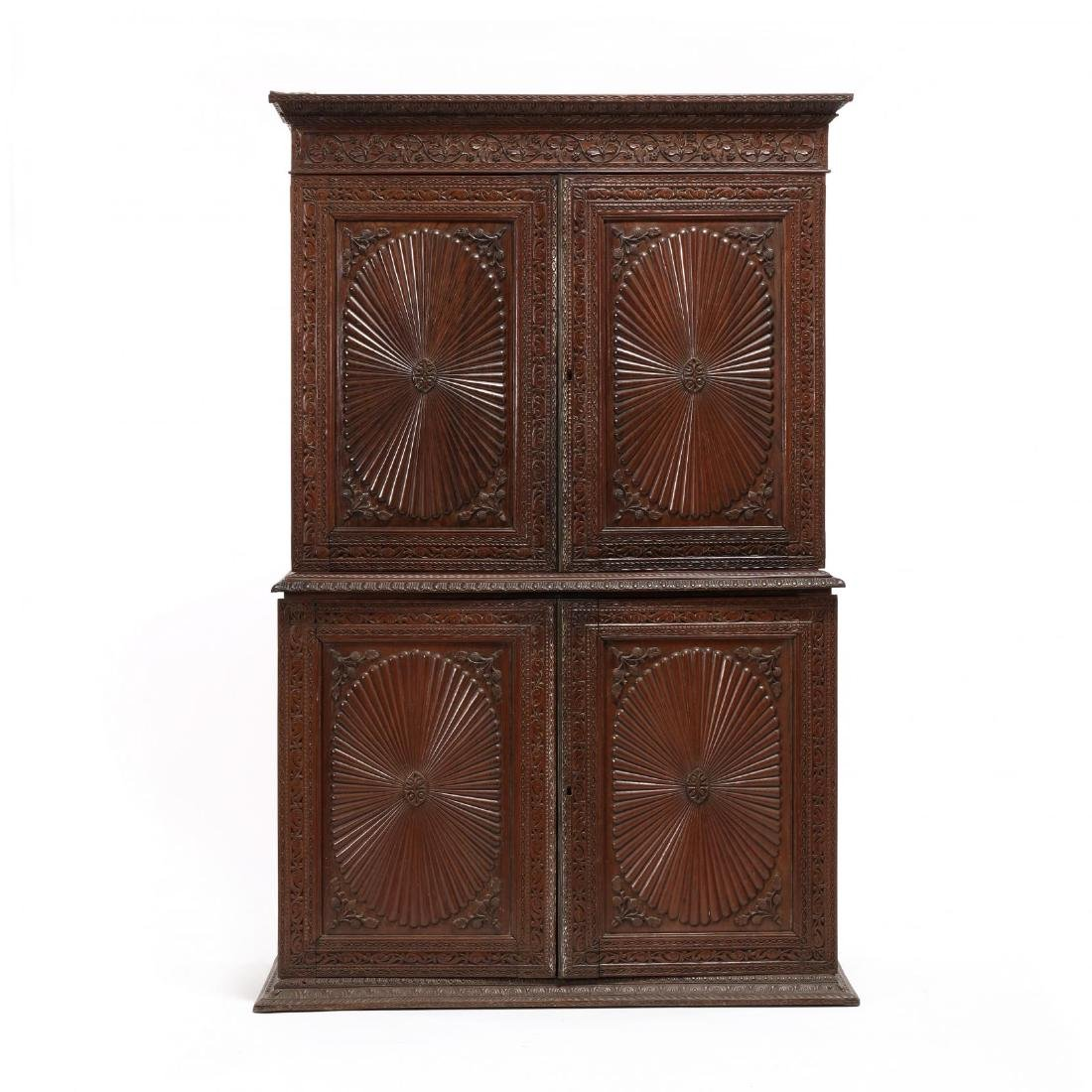 British Colonial Anglo-Indian Carved Linen Press