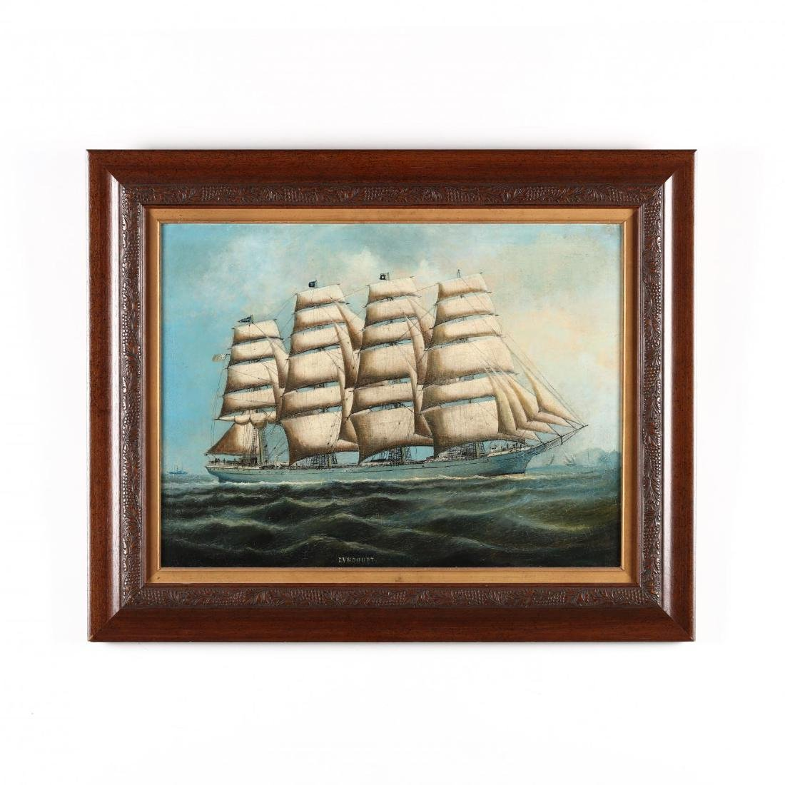 Antique China Trade School Painting,  The Ship