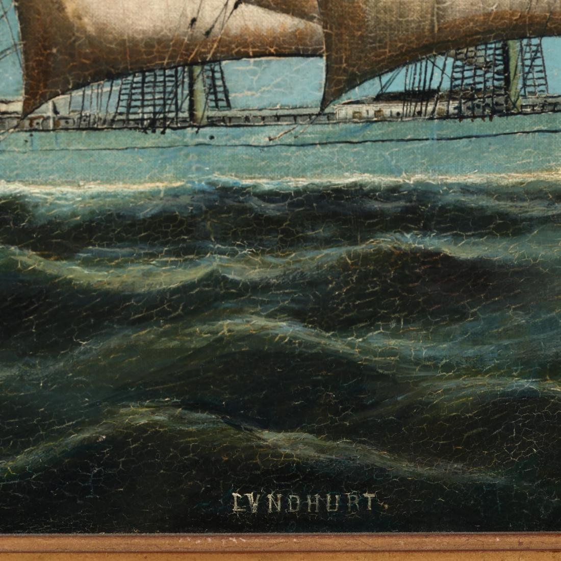 Antique China Trade School Painting,  The Ship - 2