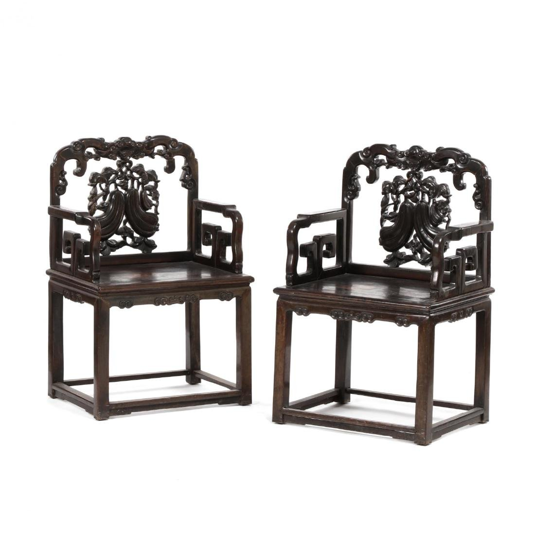 A Pair of Chinese Carved Hardwood Antique Arm Chairs