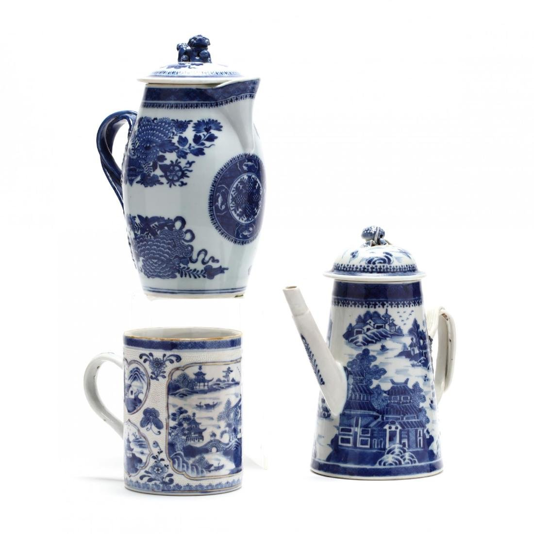 Three Chinese Export Blue and White Porcelain Vessels