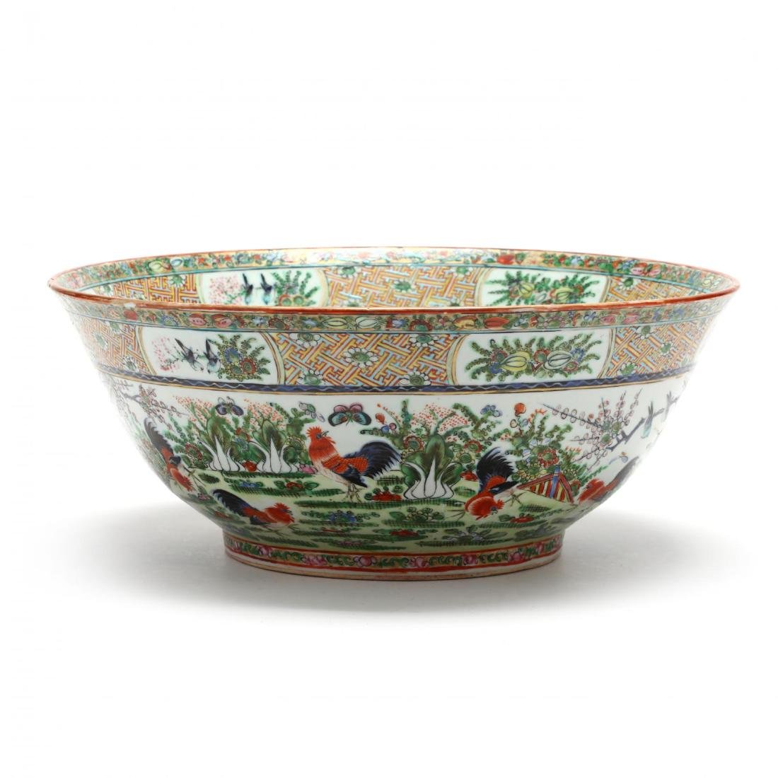 A Rare Large Chinese Export Porcelain Punch Bowl with
