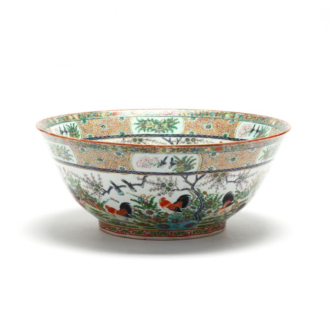 A Rare Large Chinese Export Porcelain Punch Bowl with - 3