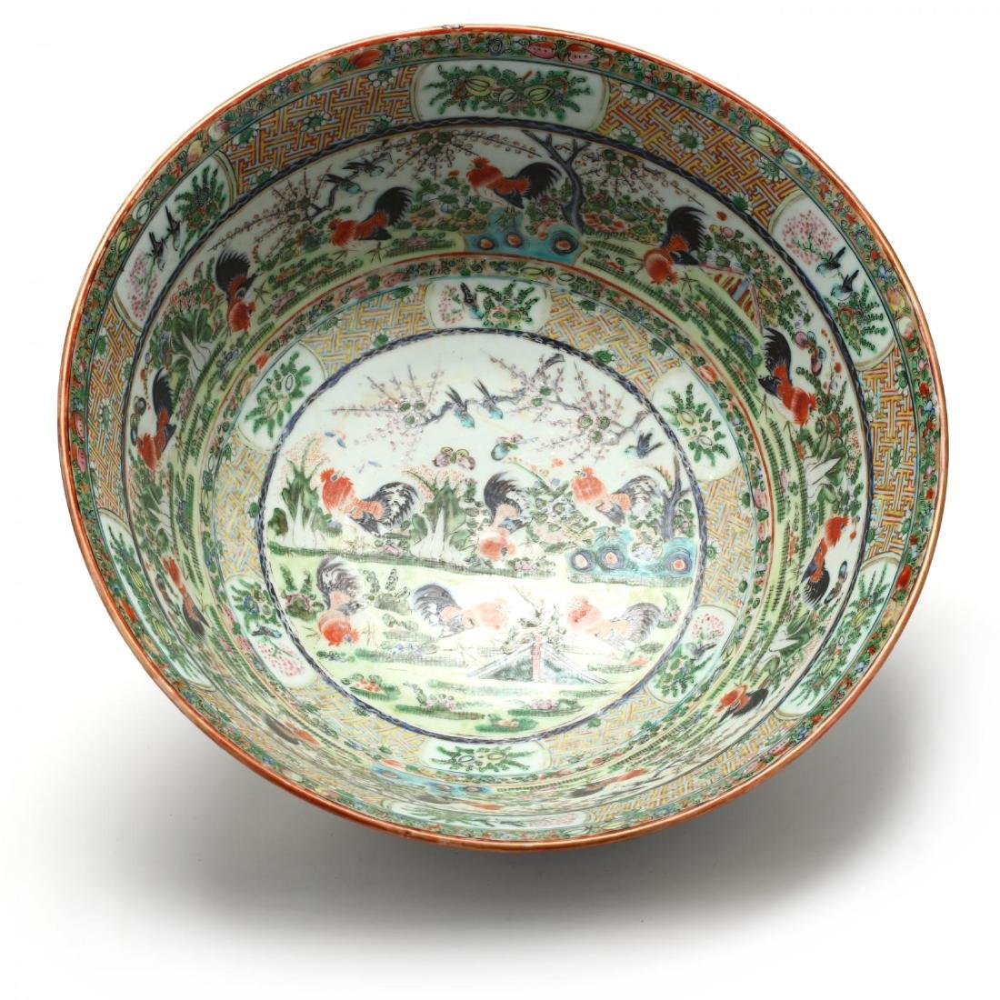 A Rare Large Chinese Export Porcelain Punch Bowl with - 4