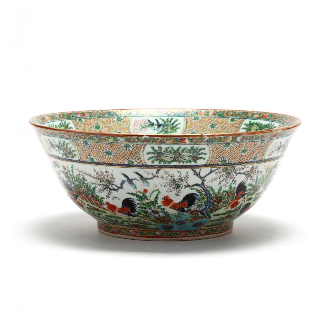 A Rare Large Chinese Export Porcelain Punch Bowl with - 6