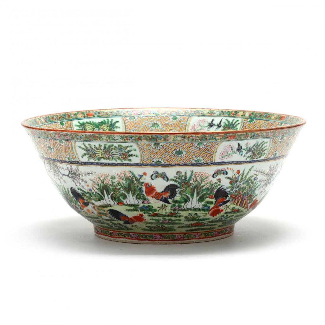A Rare Large Chinese Export Porcelain Punch Bowl with - 7