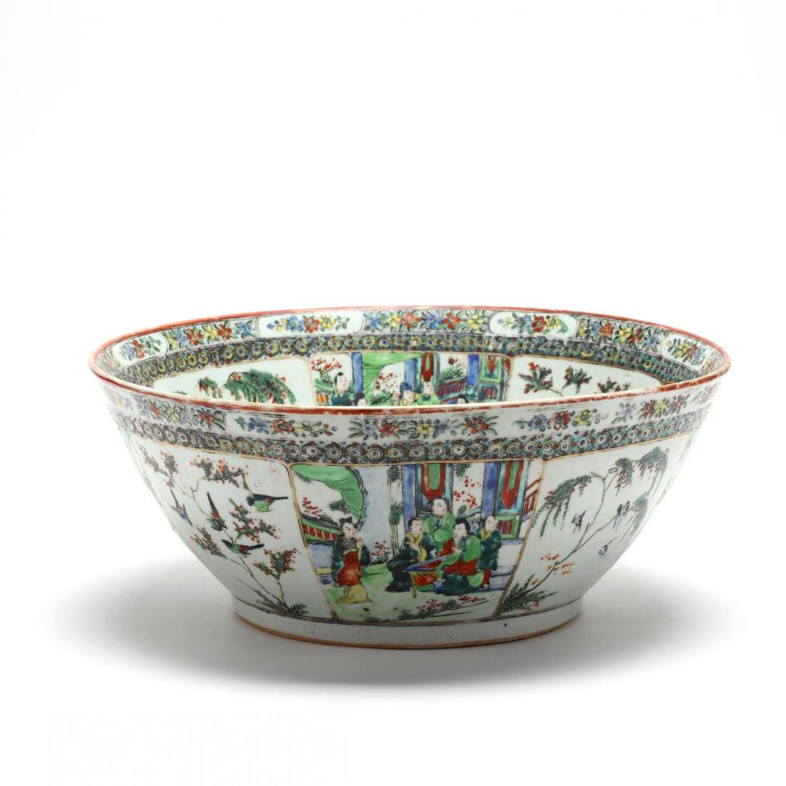 A Large Chinese Export Famille Verte Punch Bowl