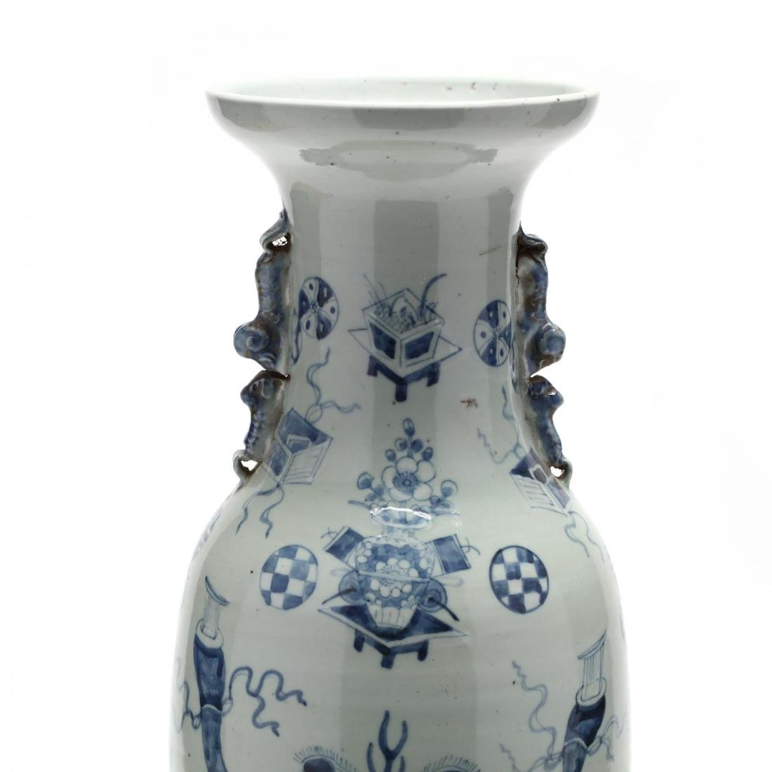 A Large Chinese Blue and White Vase - 2