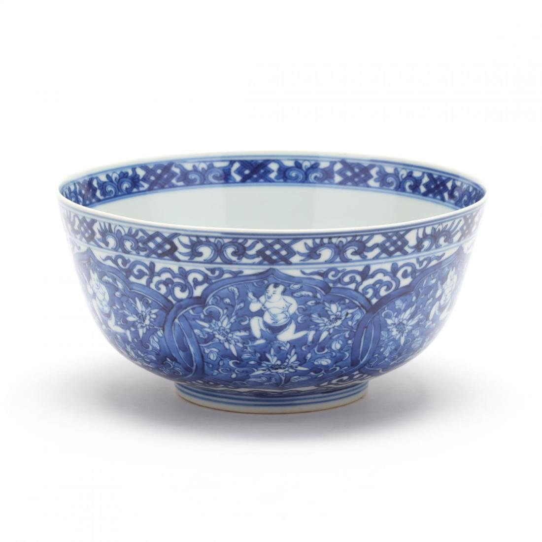 A Chinese Blue and White Porcelain Bowl with Boys