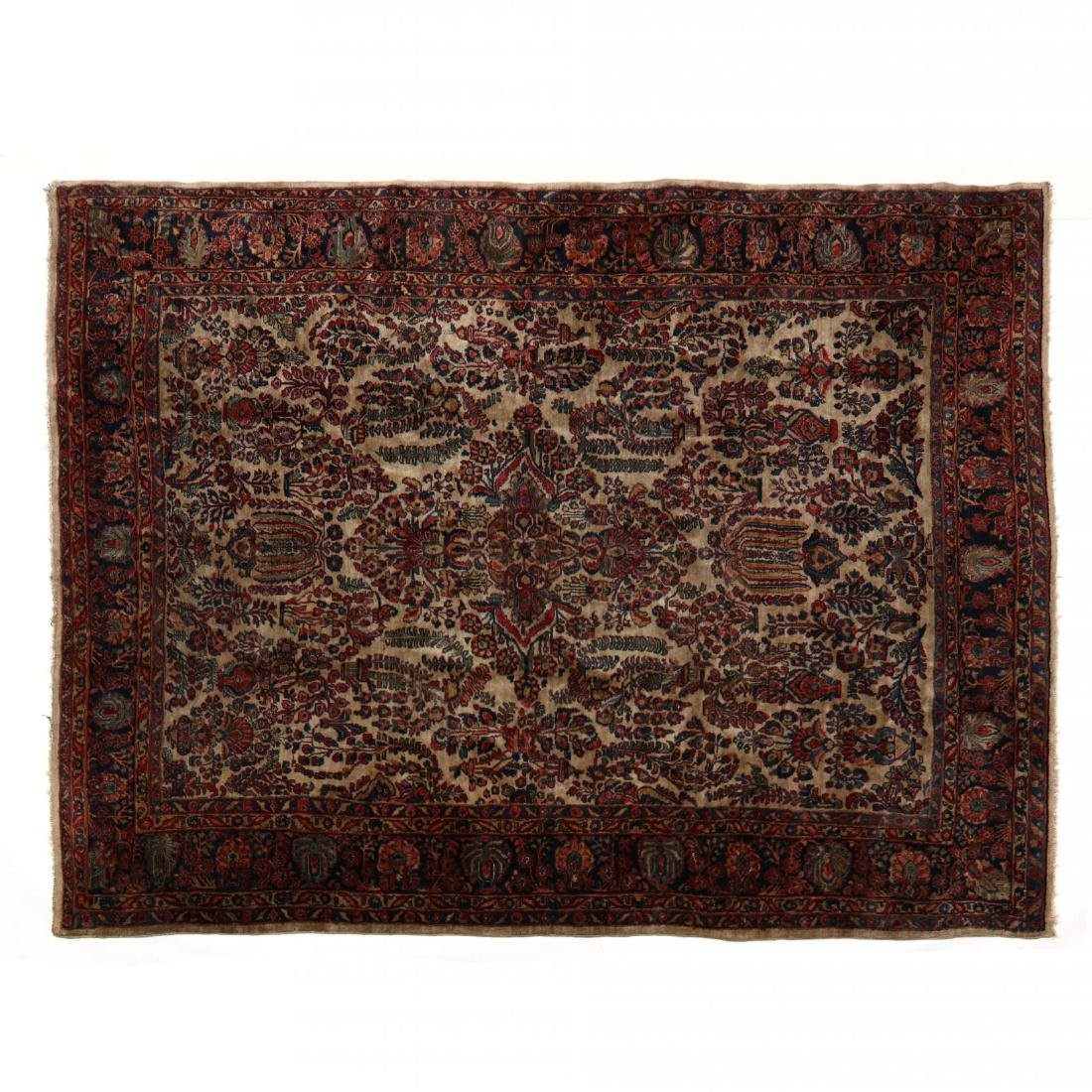 Ivory Field Sarouk Carpet
