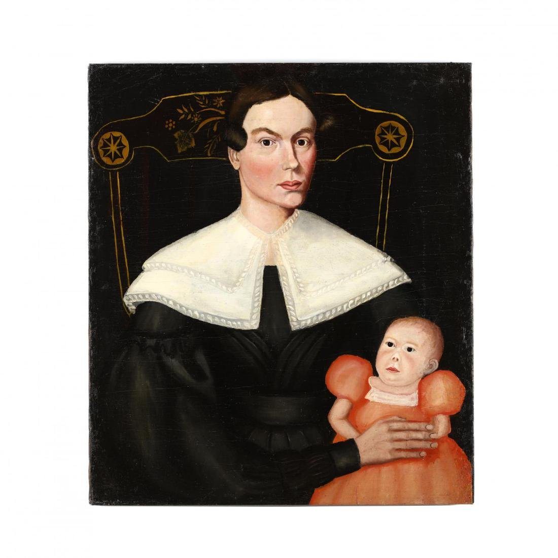Antique American Folk Art Portrait of a Mother and