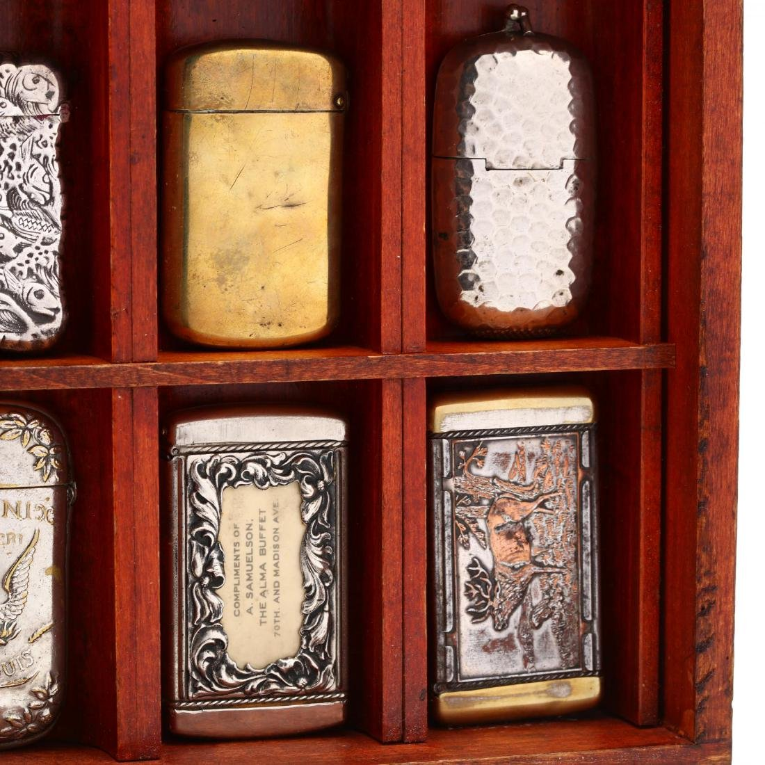 Match Safe Collection in a Spencerian Pen Display Case - 10