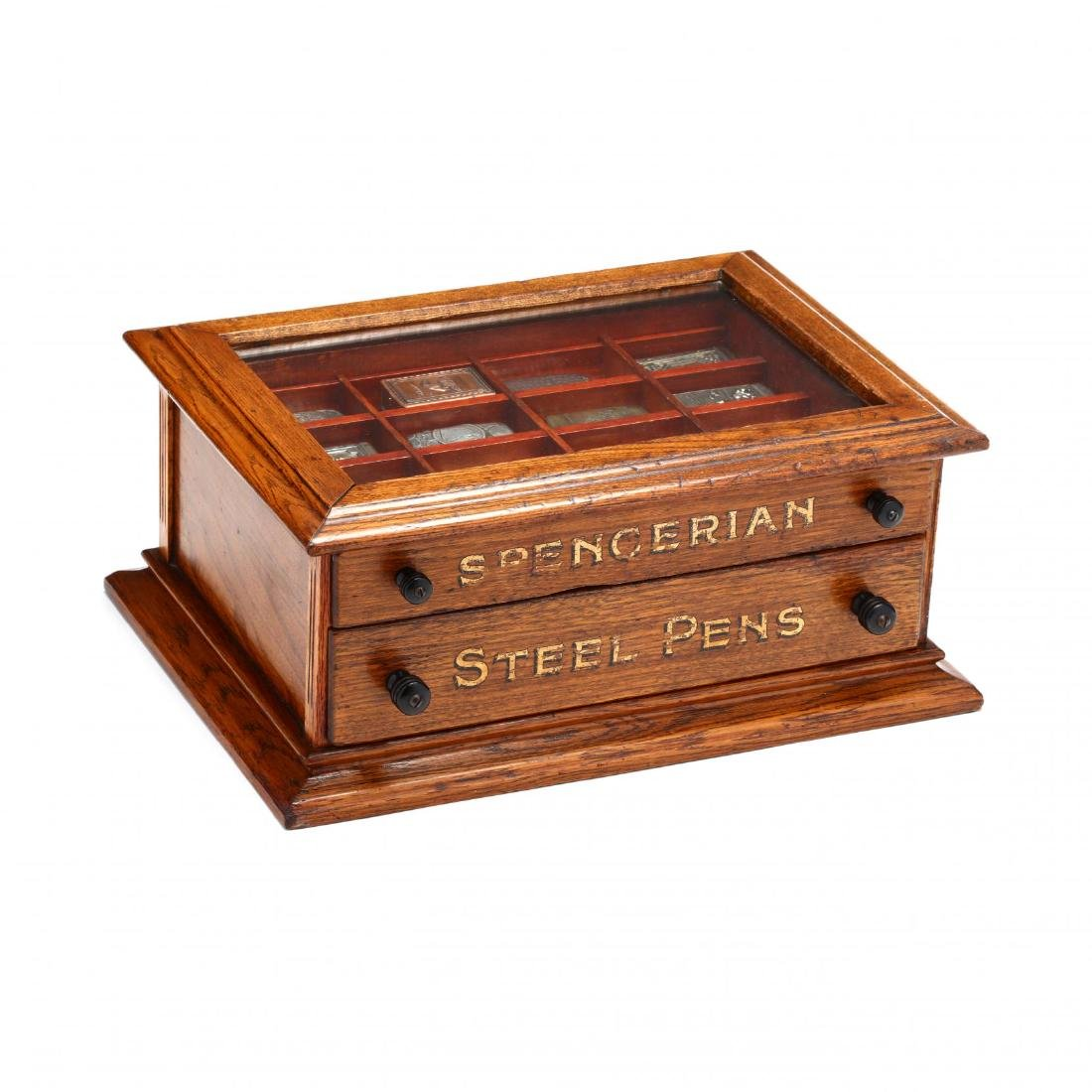 Match Safe Collection in a Spencerian Pen Display Case