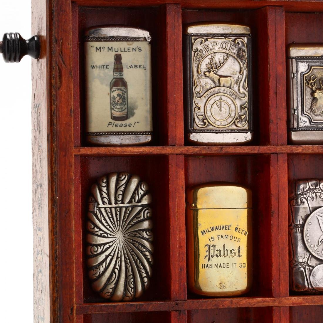 Match Safe Collection in a Spencerian Pen Display Case - 3
