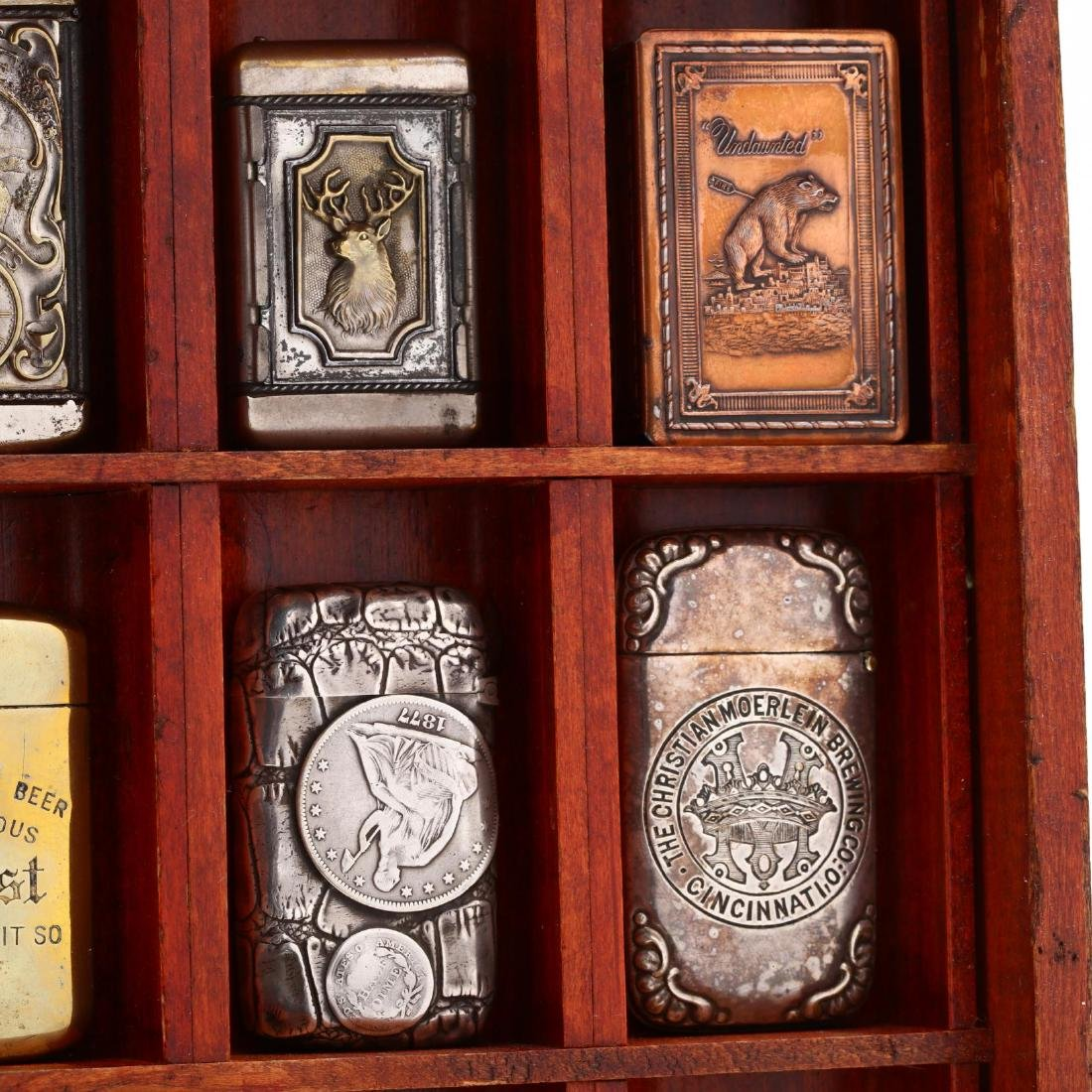 Match Safe Collection in a Spencerian Pen Display Case - 4