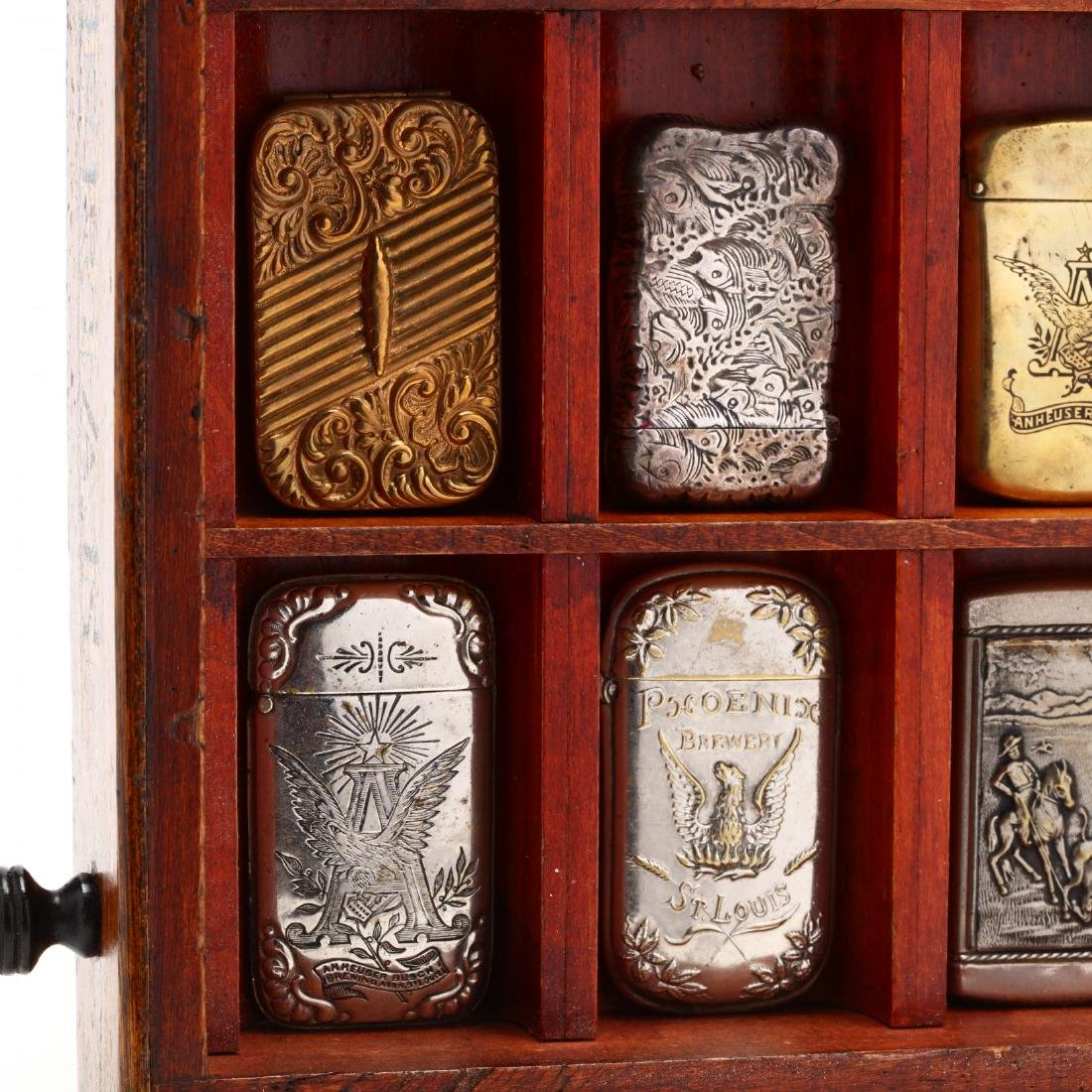 Match Safe Collection in a Spencerian Pen Display Case - 5