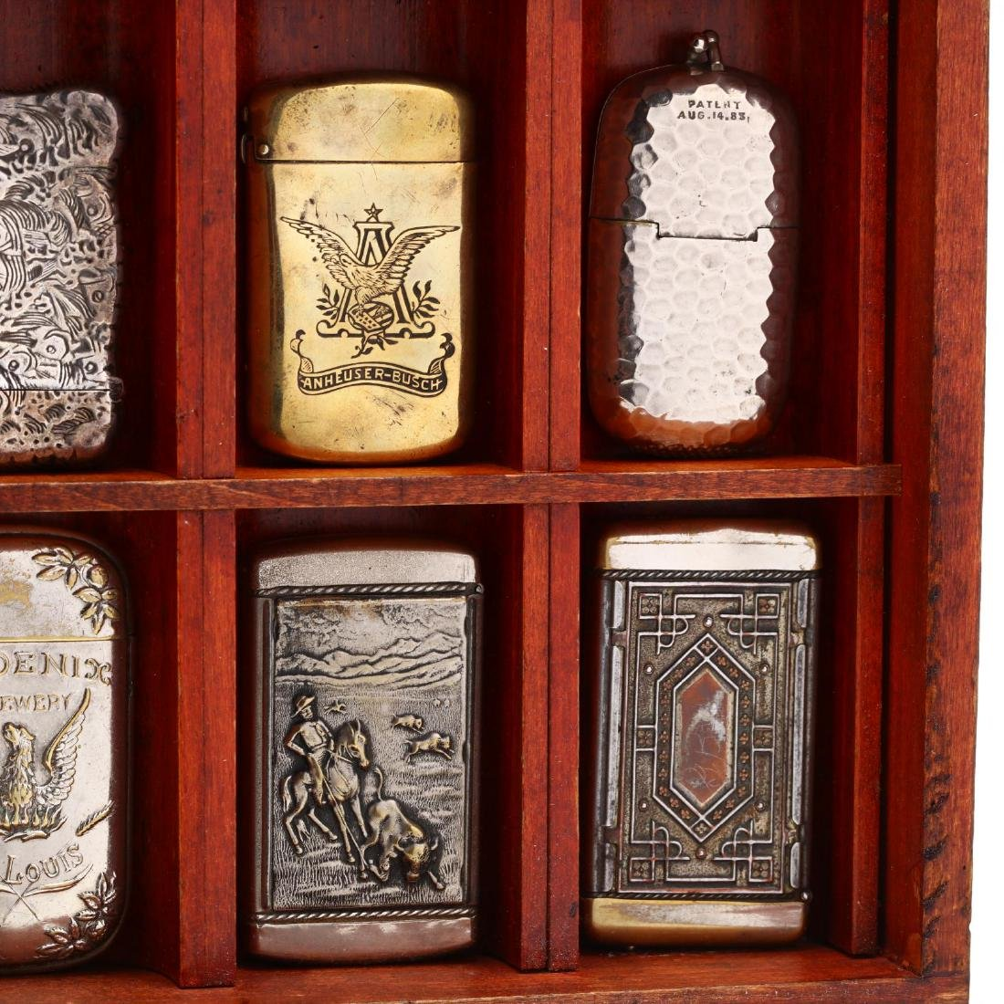 Match Safe Collection in a Spencerian Pen Display Case - 6