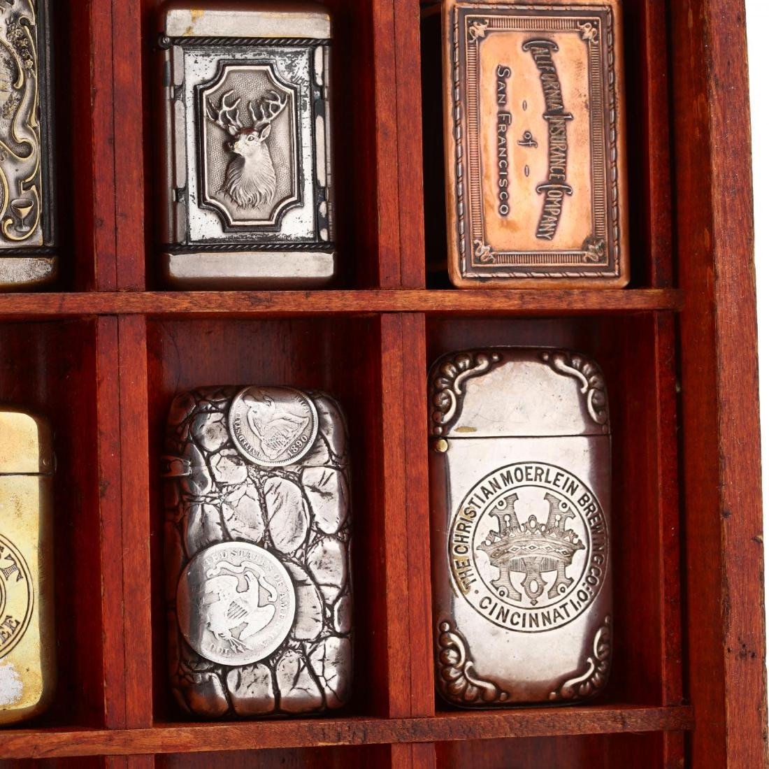 Match Safe Collection in a Spencerian Pen Display Case - 8