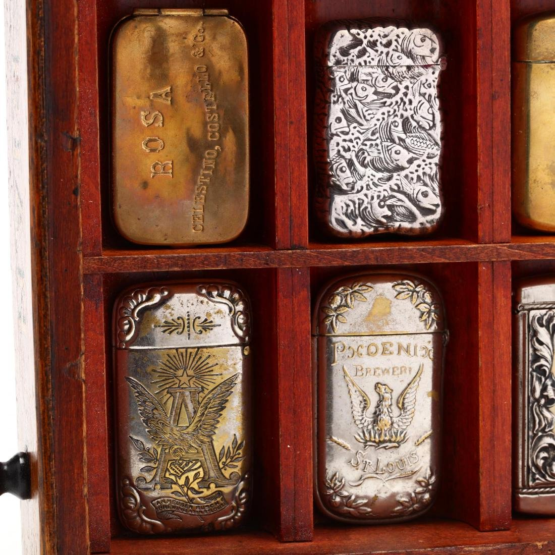 Match Safe Collection in a Spencerian Pen Display Case - 9