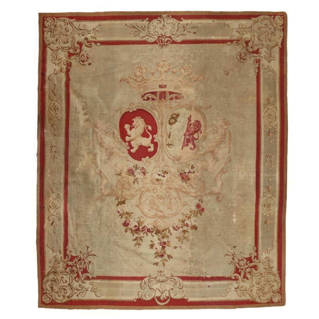 Napoleon III Aubusson Armorial Coat-of-Arms Tapestry