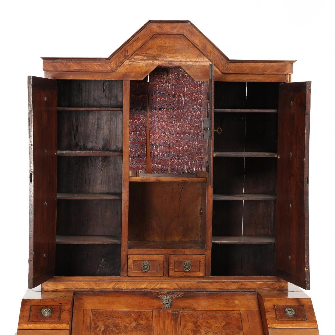 Antique Italian Inlaid Secretaire Bookcase - 4