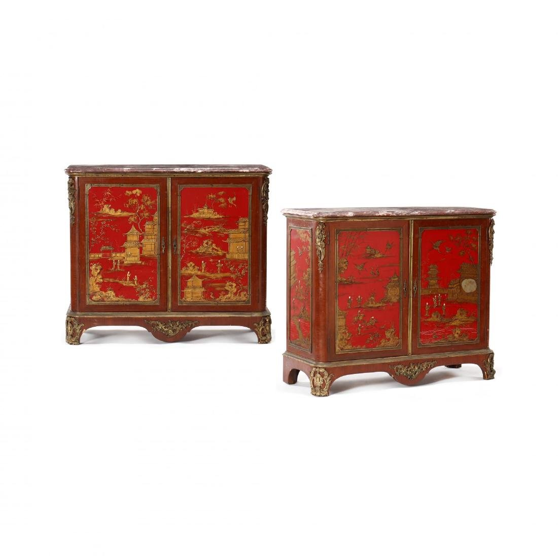 Fine Pair of Chinoiserie Marble Top Cabinets With