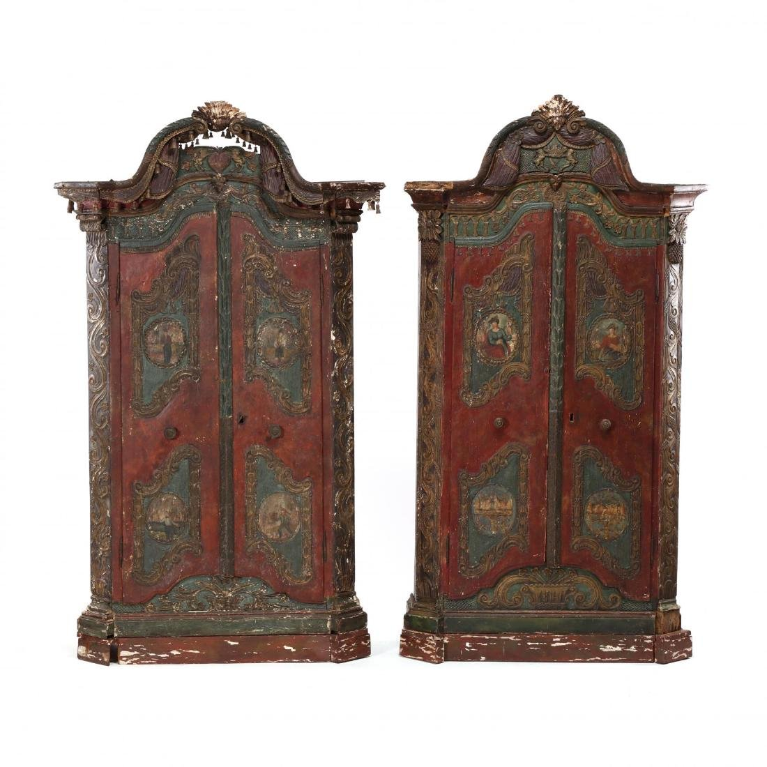 Near Pair of Continental Carved and Paint Decorated