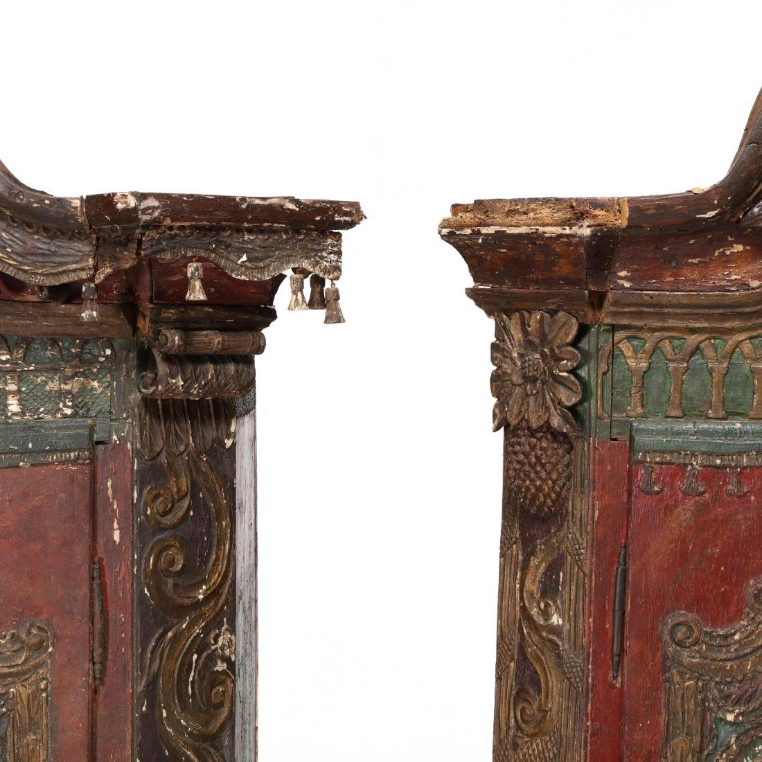 Near Pair of Continental Carved and Paint Decorated - 6
