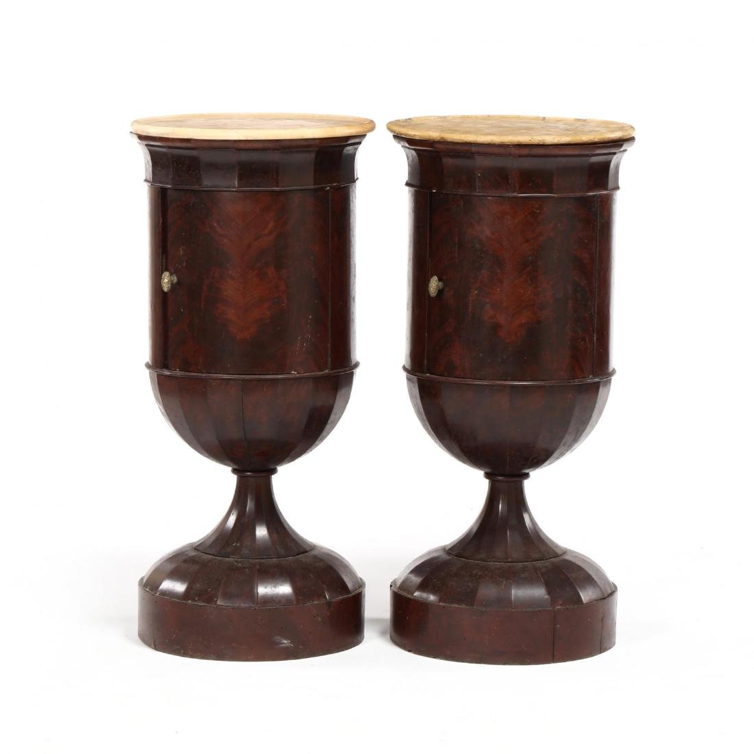 Pair of Neoclassical Barrel Form Side Cabinets