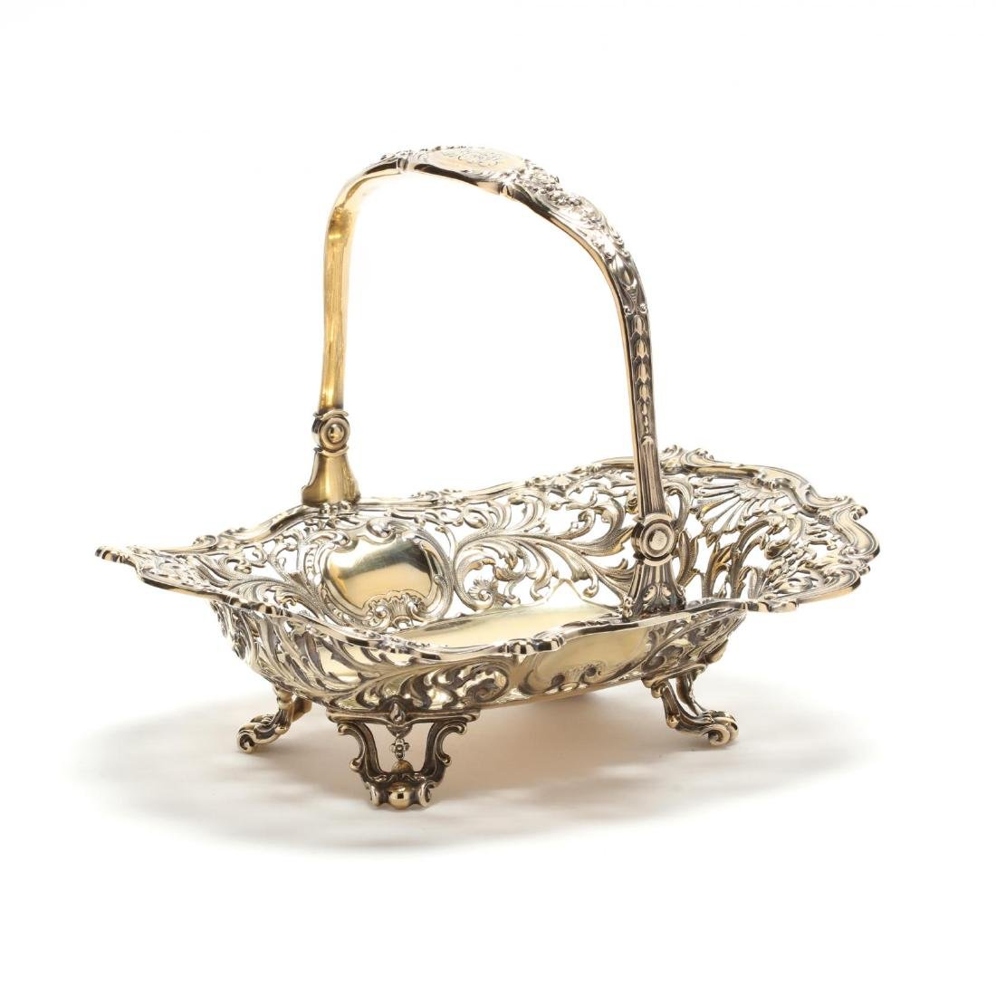 An Antique Vermeil Cake Basket by Gorham