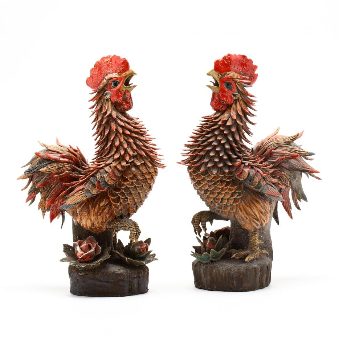 A Pair of Wucai Porcelain Rooster Statues