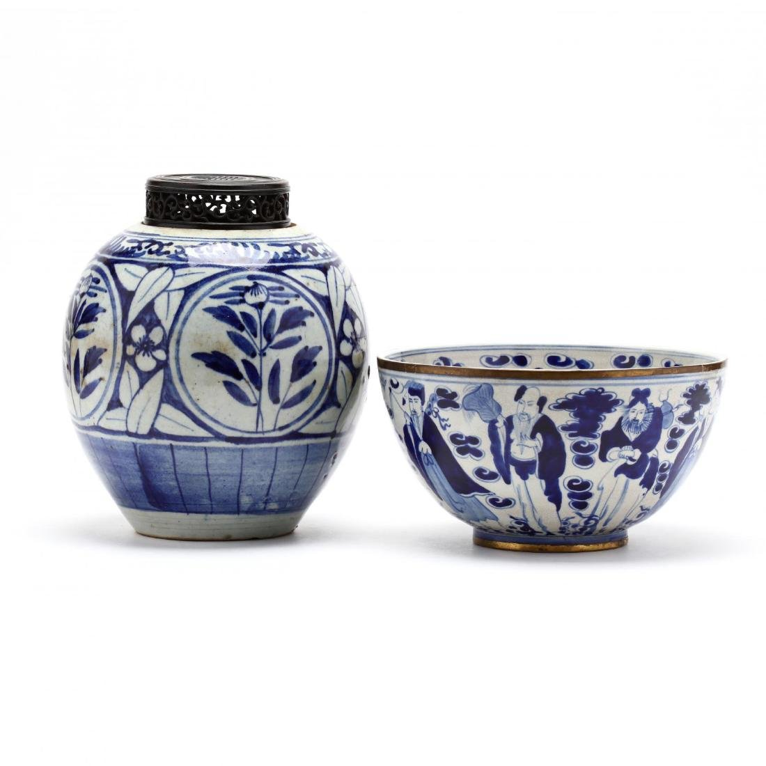 A Chinese Blue and White Ginger Jar and Bowl