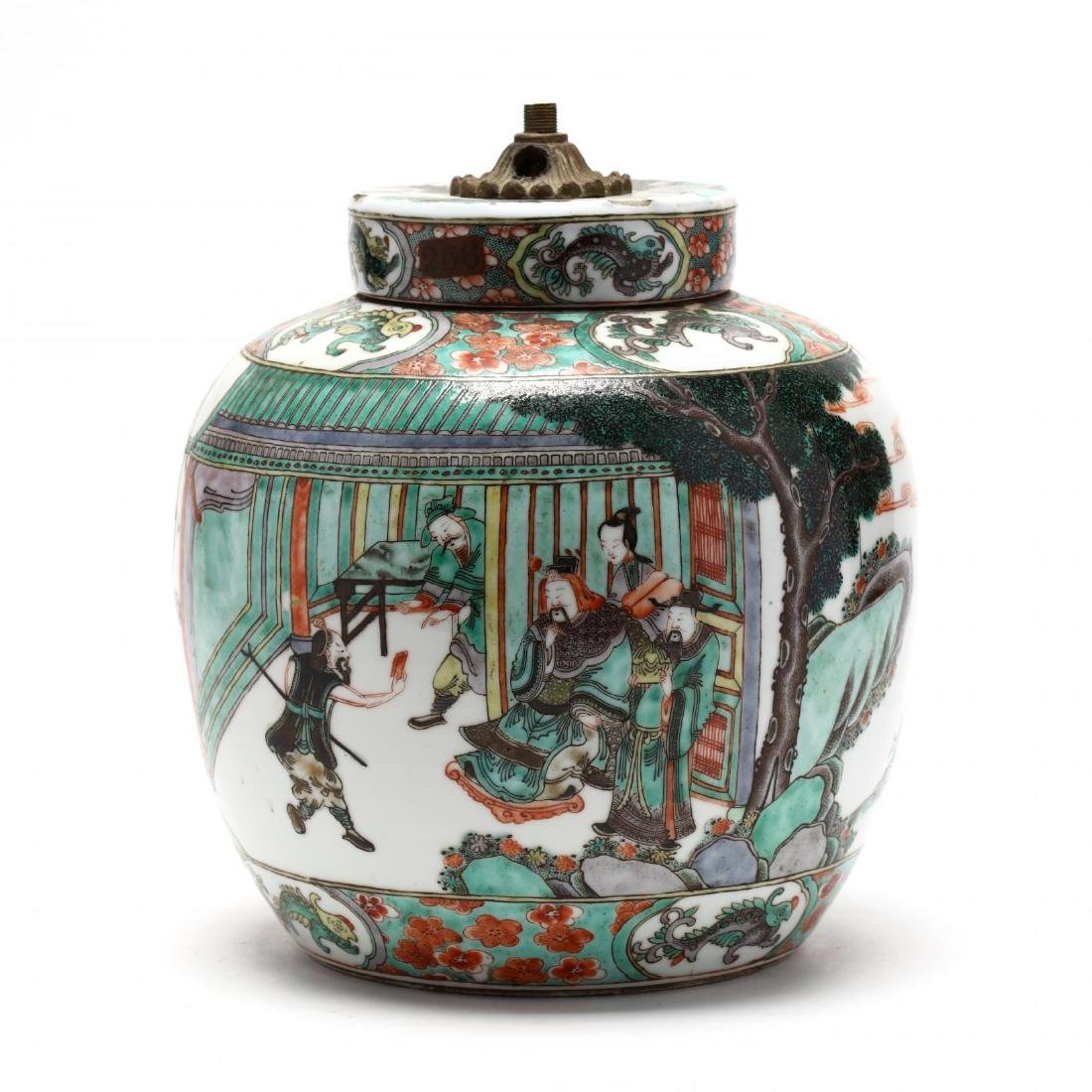 A Chinese Famille Verte Ginger Jar