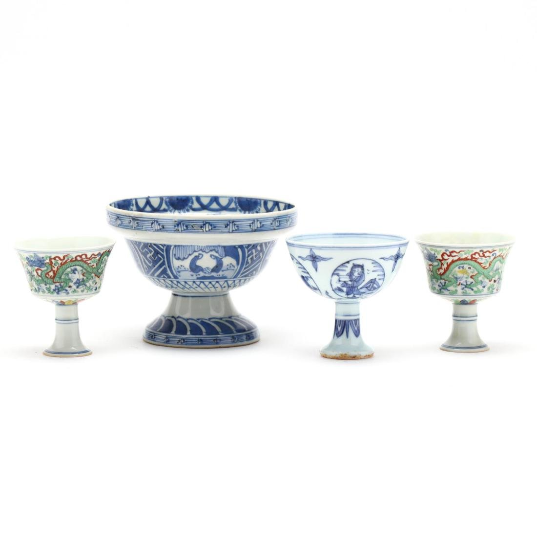 Three Chinese Stem Cups and A Footed Bowl