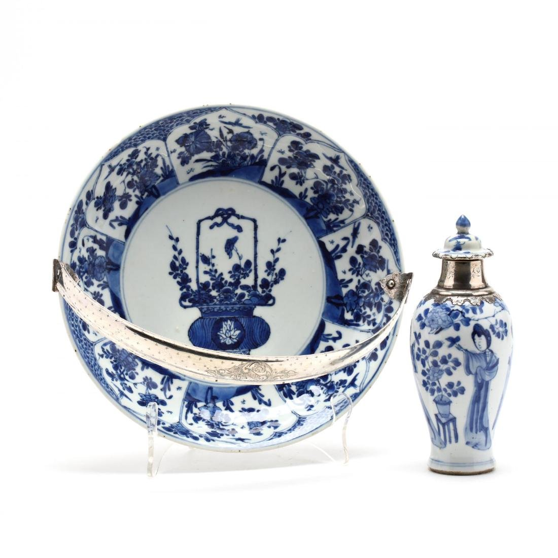 A Chinese Kangxi Period Dish and Covered Jar with Dutch