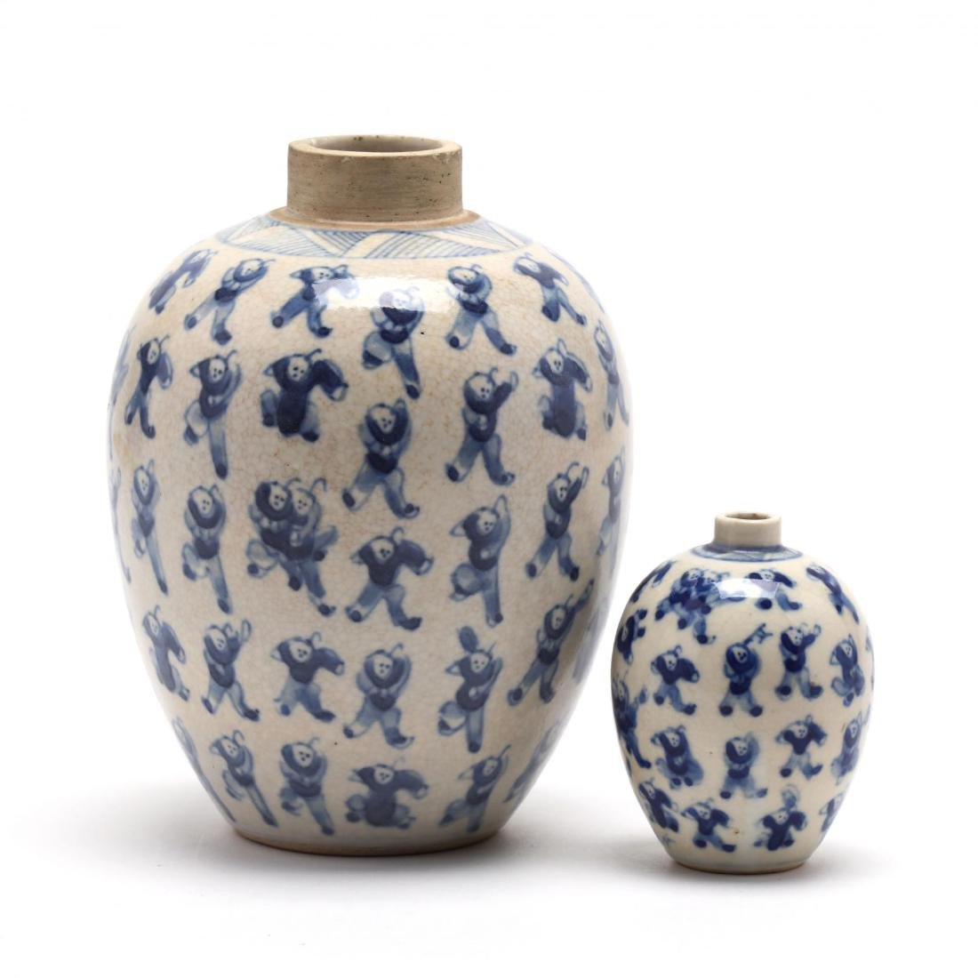 Two Chinese Blue and White Hundred Boys Ginger Jars