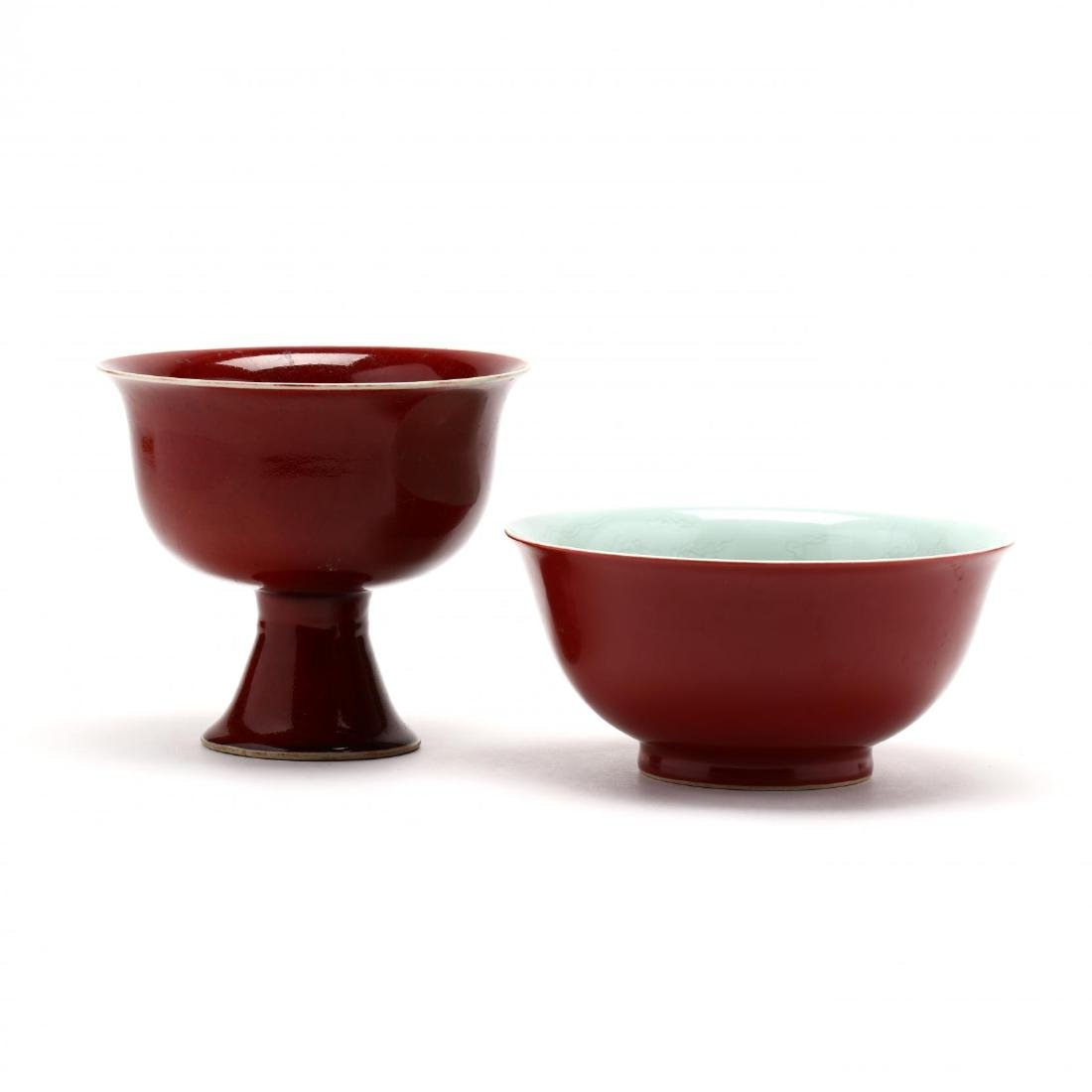 A Large Chinese Persimmon Stem Cup and Bowl