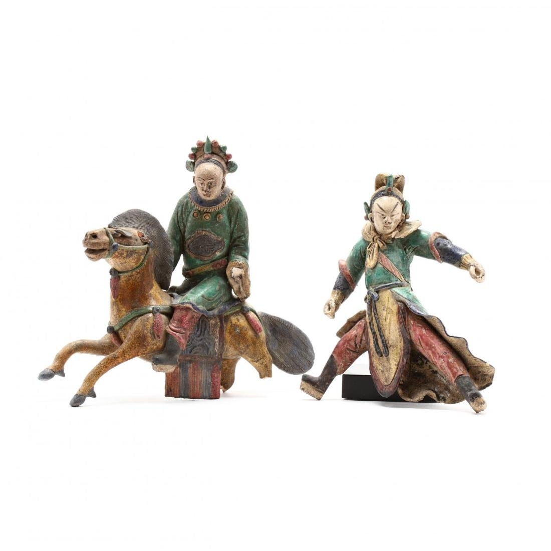 Two Chinese Roof Tile Figures
