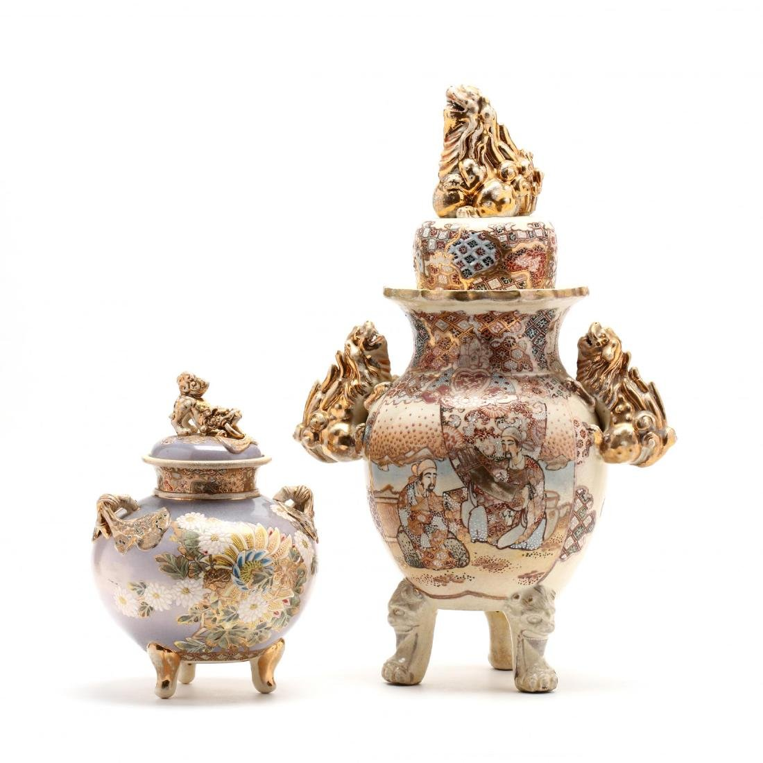 Two Japanese Satsuma Covered Urns