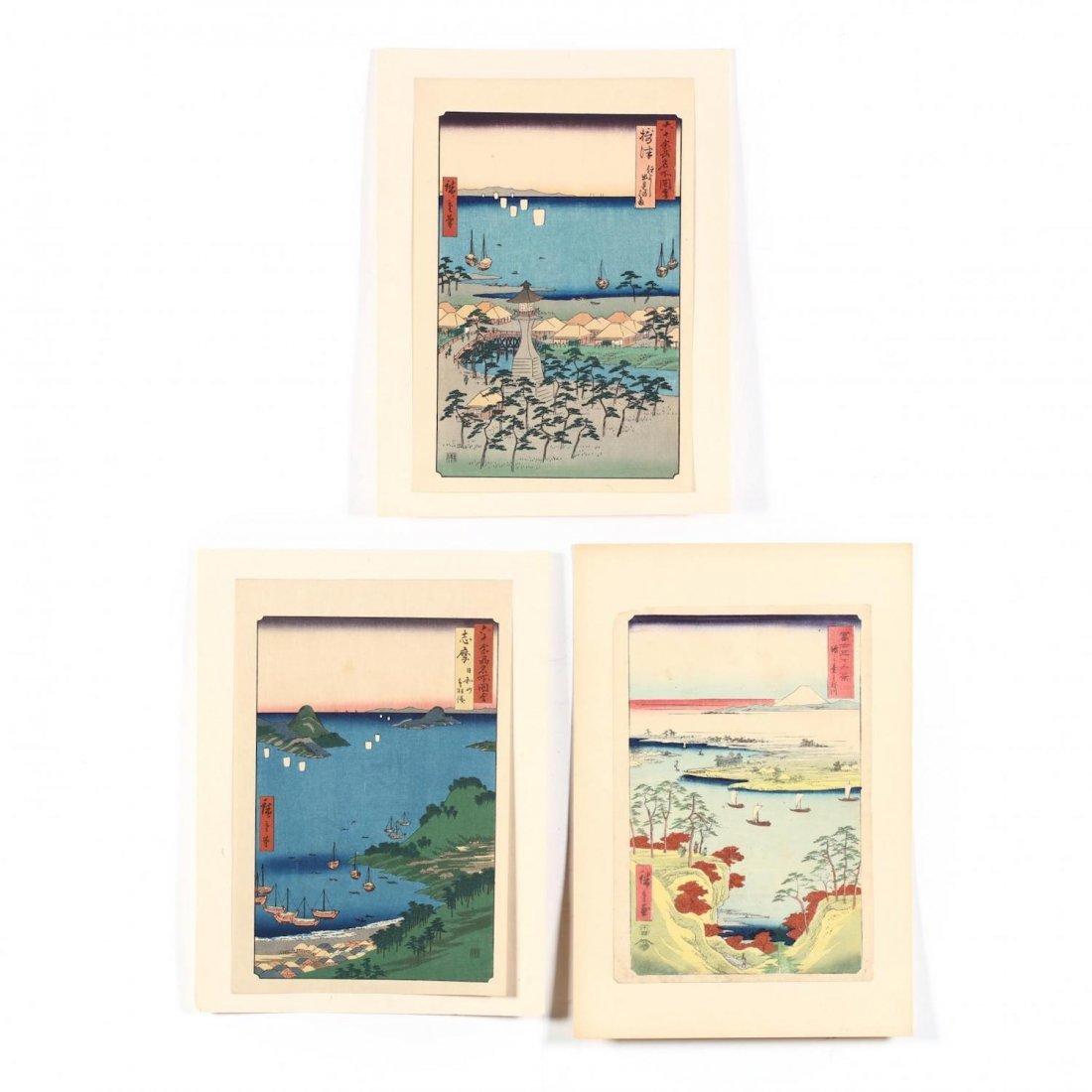 Three Japanese Hiroshige Design Woodblock Prints